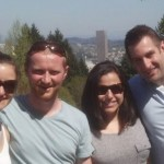 Cat frey, matt morrison, lexi katsanevas, and scott hums at the portland rose garden